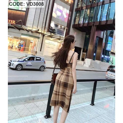 VD3008 - Đầm 2 dây viền ren in sọc vải lụa