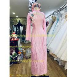 áo dài cưới hồng tơ tầm 4 tà kết ren hoa kèm mấn đôi