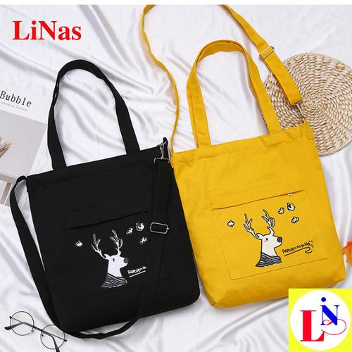 Túi tote đeo vai xinh xắn giá rẻ in hình hưu TV112 Linas