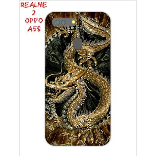 Ốp Lưng Oppo A5s Realme 2 Rồng Vàng Nền Đen 3D