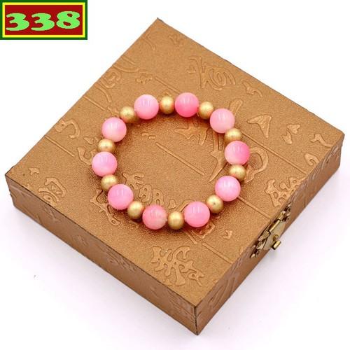 Vòng tay đá ngọc tủy hồng 10 ly VNTHHVT1 kèm hộp gỗ - Chuỗi đeo tay đá phong thủy