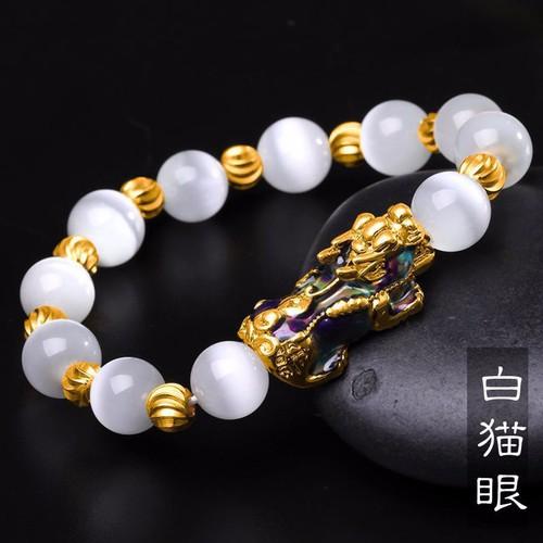 Vòng Tay Phong Thuỷ Đá Opal Trắng Tỳ Hưu 24k Đổi Màu