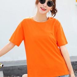 Áo thun trơn nữ màu cam-cotton