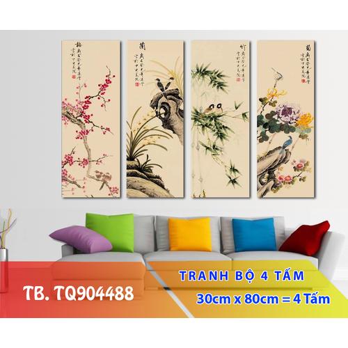 Bộ 4 tấm tranh treo tường Tứ Quý TB.TQ904488-Gỗ nhập khẩu Hàn Quốc-Bo viền,chống lóa,ẩm mốc,mối mọt