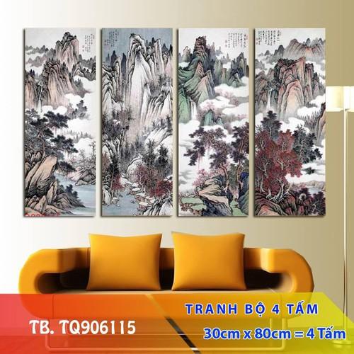 Bộ 4 tấm tranh treo tường Tứ Quý TB.TQ906115-Gỗ nhập khẩu Hàn Quốc-Bo viền,chống lóa,ẩm mốc,mối mọt