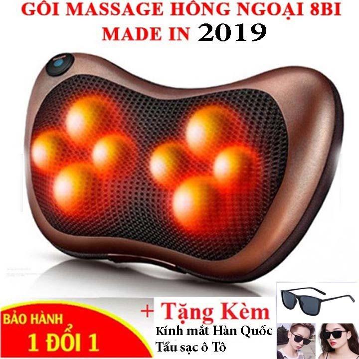 Gối massage hồng ngoại 8 bi loại 1 TẶNG kính mắt