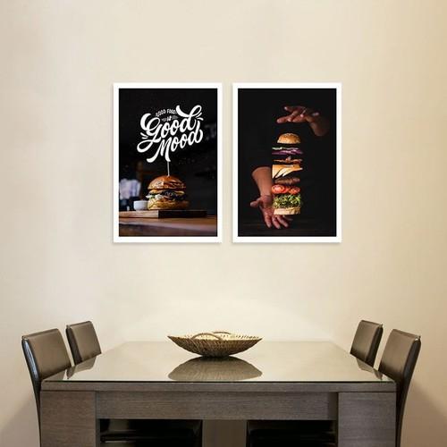 Tranh chữ Good food is Good mood | Tranh treo tường hình Hamburger W2010