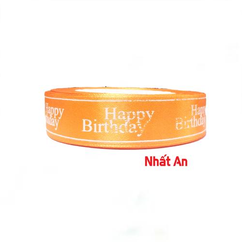 Ruy băng happy birthday 2cm- Màu cam