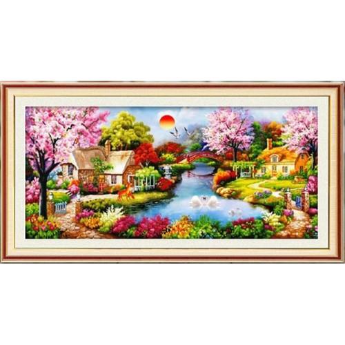 Tranh thêu chữ thập phong cảnh ngôi nhà mùa xuân 132x62cm - 8964742 , 18595504 , 15_18595504 , 277000 , Tranh-theu-chu-thap-phong-canh-ngoi-nha-mua-xuan-132x62cm-15_18595504 , sendo.vn , Tranh thêu chữ thập phong cảnh ngôi nhà mùa xuân 132x62cm