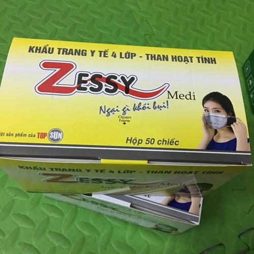 Khẩu trang y tế 4 lớp- Than hoạt tính ZESSY Medi - Hộp 50 chiếc