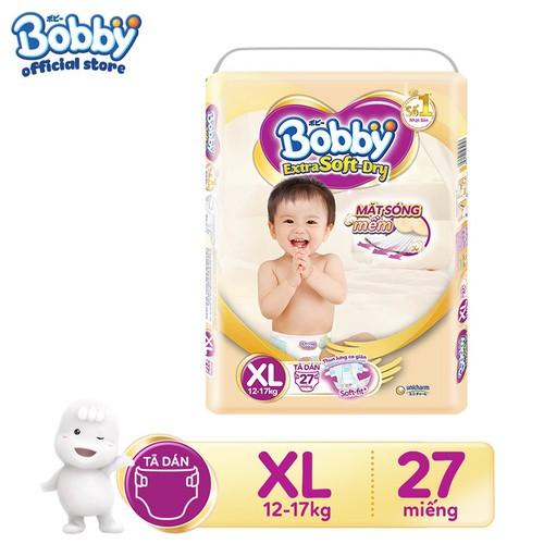 Tã dán cao cấp Bobby Extra Soft - Dry XS48-S40-M34-L30-XL27-XXL24:XL 27
