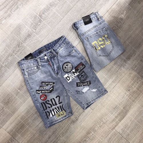 quần short jean nam họa tiết lạ