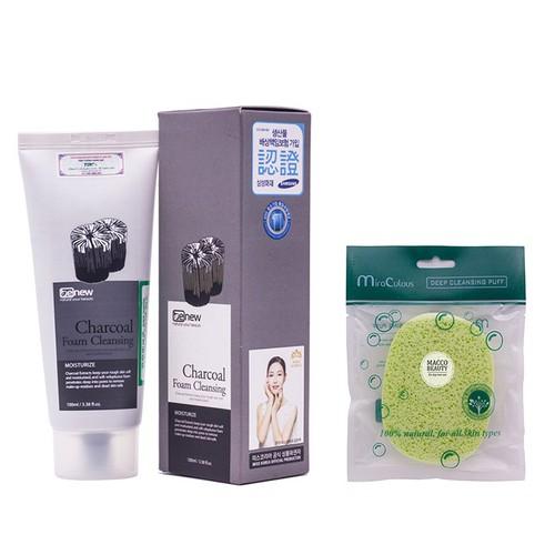 Combo Sữa rửa mặt cho da dầu Benew Than hoạt tính 100ml tặng ngay bông bọt biển massage mặt Mira Culous