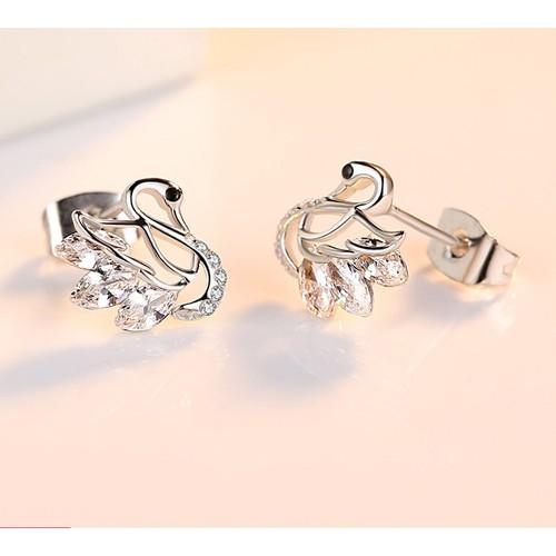Khuyên tai nữ hình thiên nga đính đá lấp lánh - Trang sức bạc 925