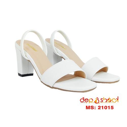 Giày cao gót size lớn size nhỏ-giày sandal cao gót bản ngang hậu thun màu trắng size 33 đên 43