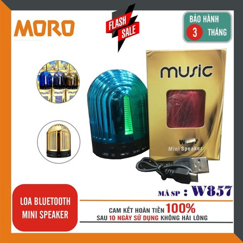 Loa bluetooth mini W857 – âm thanh hay - LED đổi màu theo nhạc _Hàng nhập khẩu