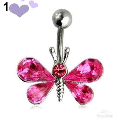 Khoen rốn hình bướm hồng