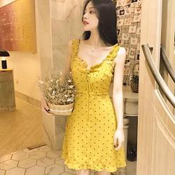 [ CHO XEM HÀNG ] Đầm xinh - Đầm bi vàng 2 dây bèo