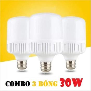 Combo 3 bóng 30W ánh sáng trắng [HỖ TRỢ PHÍ VẬN CHUYỂN 10K] - đèn LED trụ tròn siêu sáng