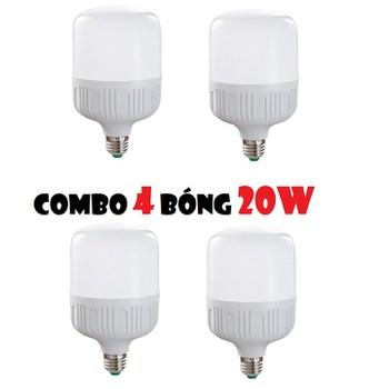 Combo 4 bóng LED trụ tròn 20W - siêu sáng và tiết kiệm điện