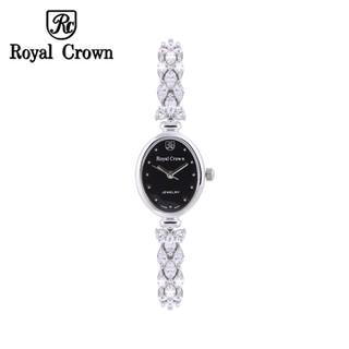 Đồng hồ nữ chính hãng Royal Crown 2506 dây đá vỏ trắng mặt đen - 2506-J-BD thumbnail