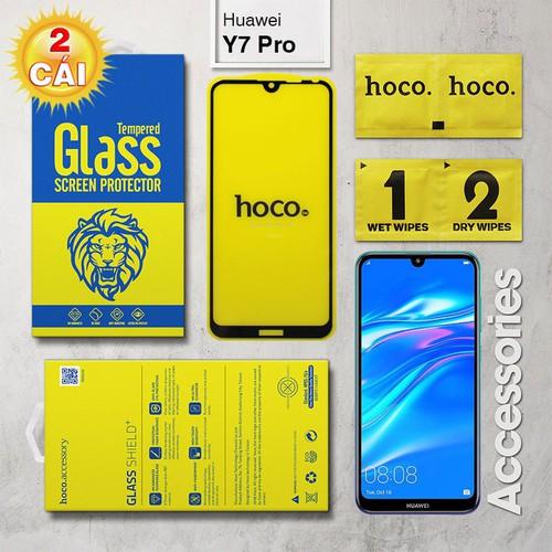 Combo 2 Kính cường lực Huawei Y7 Pro 2019 Full Hoco đen