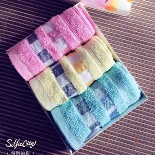 Bộ 3 khăn mặt bông mềm mịn