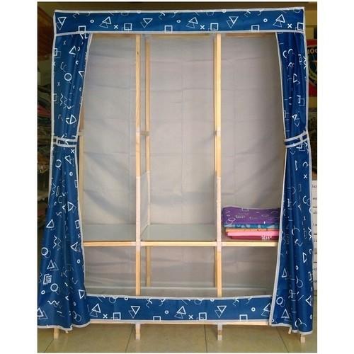 Tủ vải để quần áo 3 buồng 8 ngăn khung gỗ