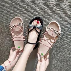Giày sandal bánh mì caro quai V |Giày sandal bánh mì nữ