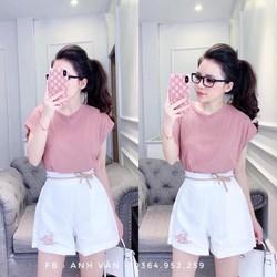 Bộ áo hồng quần đùi trắng siêu xinh