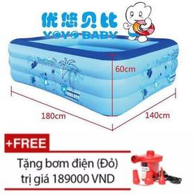 Bể Bơi, Bể Phao Hình Chữ Nhật 3 Tầng Cho Bé 180 x 140 x 60cm + Tặng Bơm Điện 2 Chiều Wenbo - HOMEBB32B60