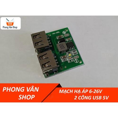 Mạch hạ áp DC 6-26v ra 2 cổng USB 5v max 3A
