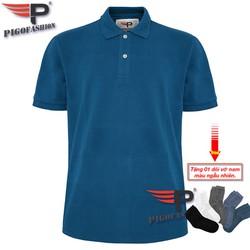 Áo thun nam cổ bẻ cao cấp Pigofashion PB01 trên 80kg màu xanh công - tặng kèm đôi vớ