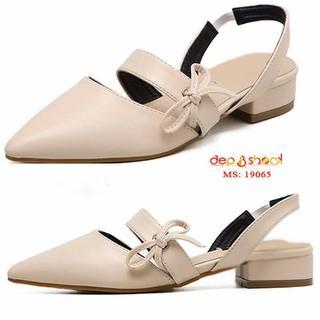 Giày size lớn size nhỏ-Giày búp bê bít mũi hậu thun màu kem size ngoại cỡ bigsize depvashock - 19065 Kem thumbnail