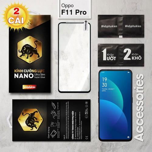 Combo 2 Miếng kính cường lực Oppo F11 Pro Full Webphukien đen