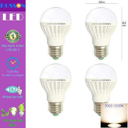4 Bóng đèn Led 3w tiết kiệm điện sáng vàng nắng Posson LB-E3G