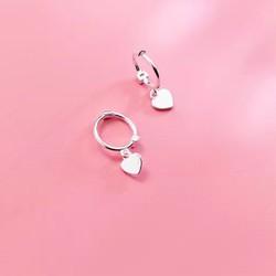Bông tai Silver S925 Ý Bảo Ngọc Jewelry Thời Trang Khuyên Tròn Đính Trái Tim B2362