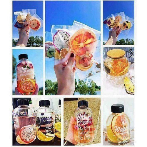 Set Detox Korea trái cây sấy 30 gói tặng 1 bình Pongdang siêu cute nhựa 1000ml