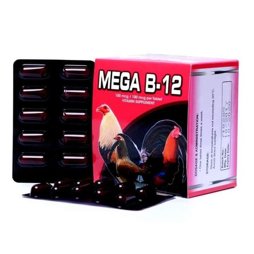 Mega B12 - Thuốc bổ gà đá tăng nước máu, nhanh tới đá- 1 hộp 10 vỉ