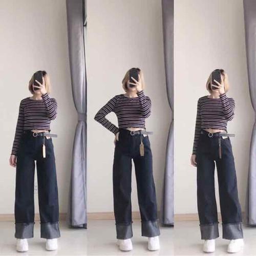Quần jeans ống rộng culottes gập gấu ulzzang - 4808246 , 18628255 , 15_18628255 , 220000 , Quan-jeans-ong-rong-culottes-gap-gau-ulzzang-15_18628255 , sendo.vn , Quần jeans ống rộng culottes gập gấu ulzzang