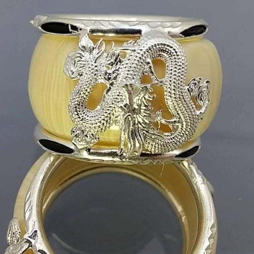 nhẫn xương  bọc bạc ta s999