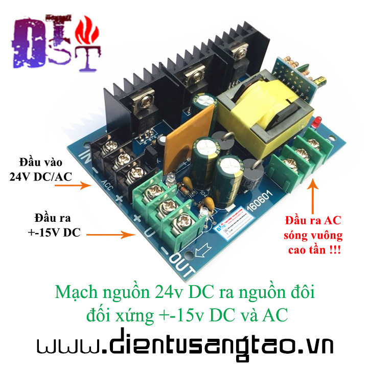 Mạch nguồn 24v DC ra nguồn đôi đối xứng +-15v DC và AC