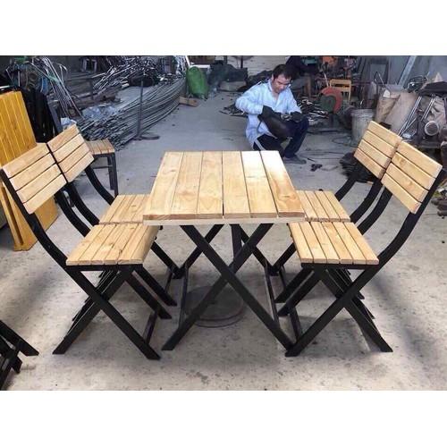 bàn ghế gỗ xếp quán nhậu giá rẻ