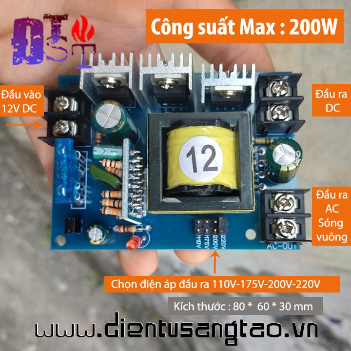 Mạch inveter 12V ra 110V 175V 200V 220V 200W DC AC sóng vuông 20kHz