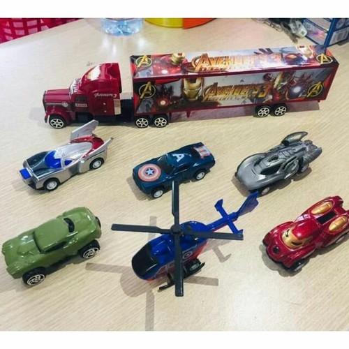 Bộ 7 món Avenger xe và máy bay siêu anh hùng bộ đồ chơi siêu nhân cho bé