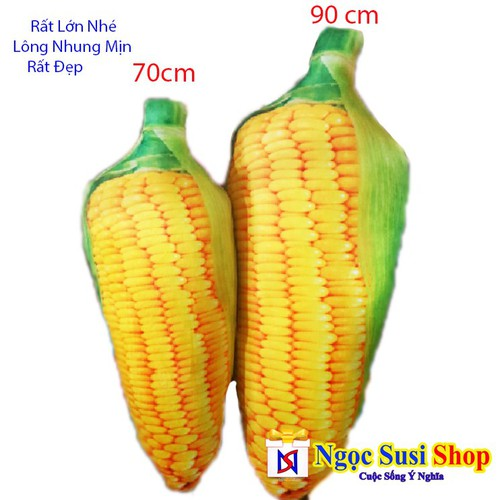 Giá Sập Sàn - Gối Ôm Thú Bông Trái Bắp 3D 70cm Cao Cấp - Giá Hủy Diệt Lông Nhung Mịn