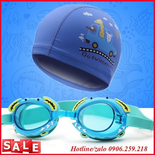 combo mũ kính bơi lội - mũ kính bơi cho bé