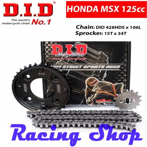 Nhông sên dĩa DID cho HONDA MSX - Sên đen 10ly DID HDS Cover - Thái Lan