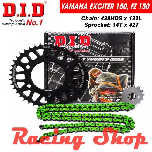 Nhông sên dĩa DID cho EXCITER 150, FZ 150 - Sên xanh lá 10ly DID HDS - Thái Lan