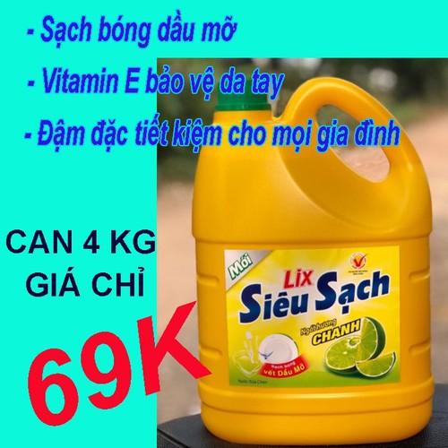 Nước rửa chén Lix 4kg siêu sạch